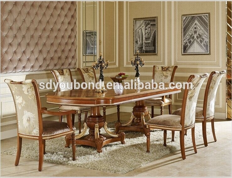 0062 Baroque Italian Design Wooden Long Table And Chairs,antique 8 With 8 Seater Dining Tables And Chairs (Photo 22 of 25)