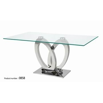 0858, China High Qulity Glass Dining Table With Clear Glass Top And Within Glass And Stainless Steel Dining Tables (Photo 4 of 25)
