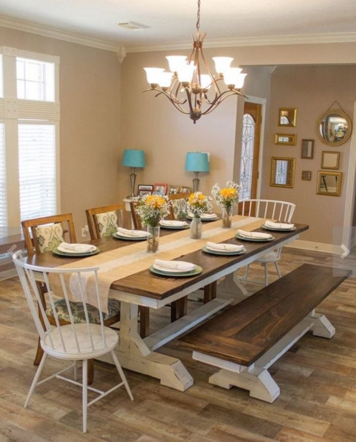 1. Dining Tables Farm Style Dining Table Rustic Farmhouse Dining Intended For Farm Dining Tables (Photo 20 of 25)