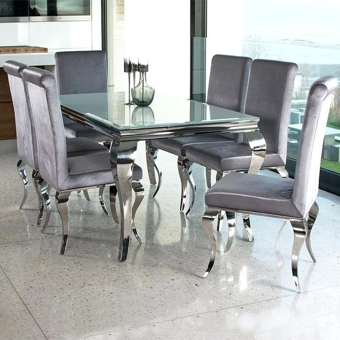 1. Incredible Glass Dining Table Chairs Glass Dining Sets Furniture Regarding Glass And Chrome Dining Tables And Chairs (Photo 8 of 25)