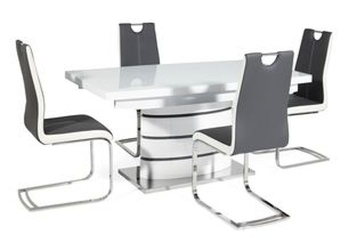 1. New Soho White Dining Table And 4 Chairs within Scs Dining Tables