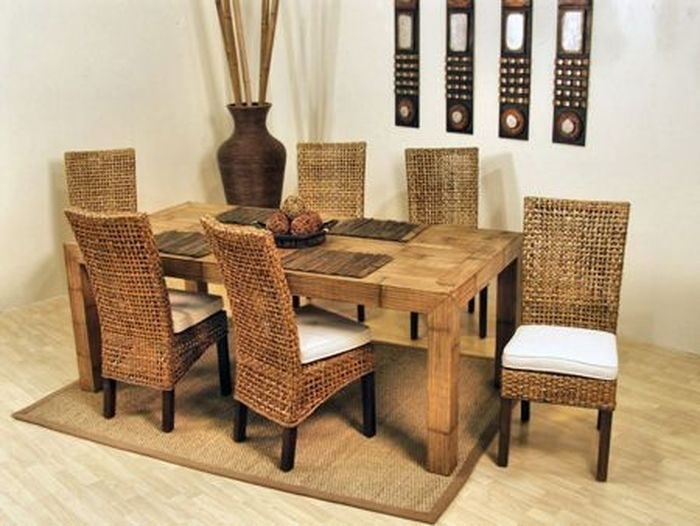 1. Pegasus Rectangle 79 Inch Dining Room Set From Hospitality Rattan with Rattan Dining Tables And Chairs