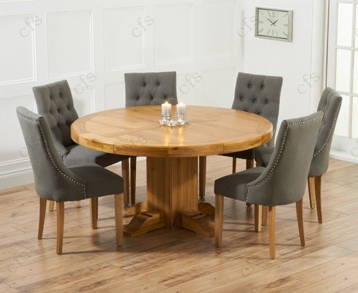 1. Stylish Round Dining Table For 6 Dining Table And Chairs On Glass Intended For Round Oak Extendable Dining Tables And Chairs (Photo 21 of 25)