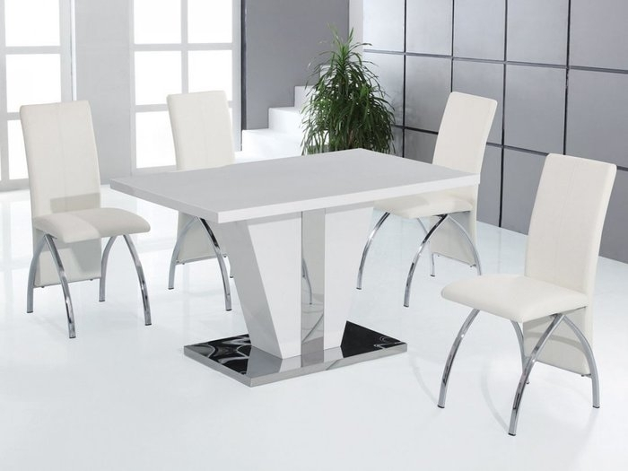 10. Dining Room Tables White Shiny White Dining Table Trendy Design With Shiny White Dining Tables (Photo 20 of 25)