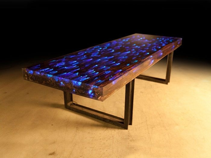 10 Ft L Dining Table Desk Driftwood Resin Embedded Led Light In 2018 Within Dining Tables With Led Lights (Image 1 of 25)