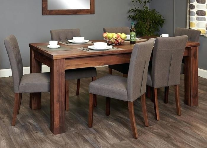 10. Lavin 7 Piece Midcentury Modern Dark Walnut Finish Wood Dining Set Inside Walnut Dining Tables And Chairs (Photo 18 of 25)