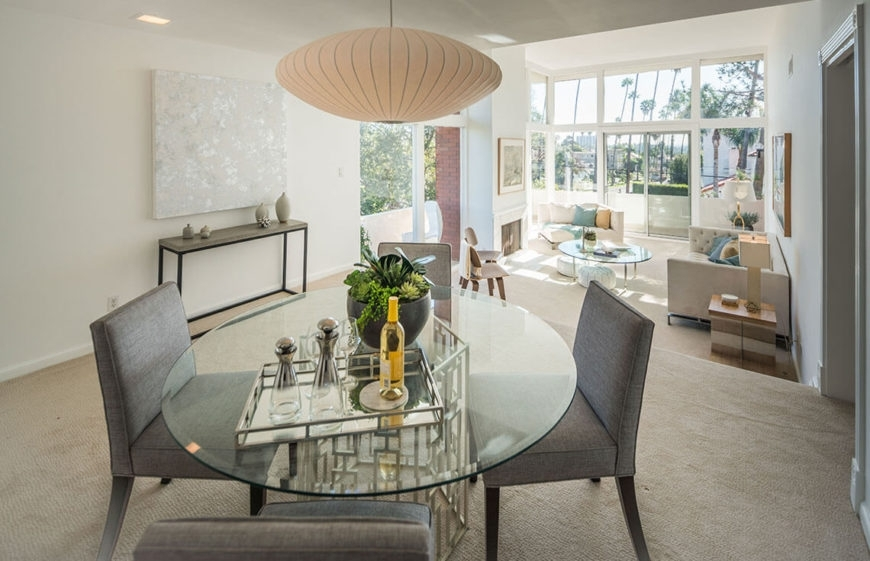 10 Marvelous Dining Room Staging Ideas (Photos) throughout Jaxon 6 Piece Rectangle Dining Sets With Bench & Uph Chairs
