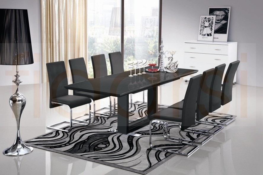 10 Seater Glass Dining Table And Chairs Gallery Dining Grey Leather Regarding Dining Table And 10 Chairs (Image 7 of 25)