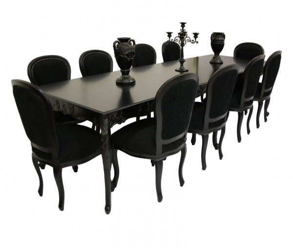 10 Seater Glass Dining Table And Chairs : Modern Kitchen Furniture Pertaining To Black 8 Seater Dining Tables (Image 1 of 25)