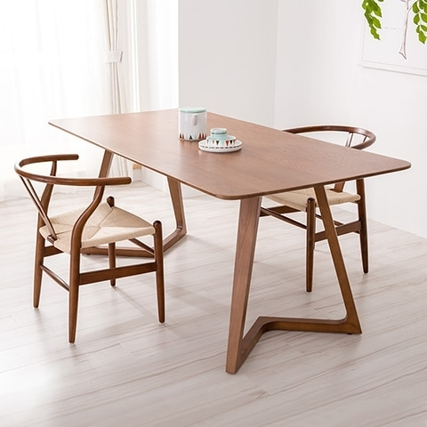 100% Pure Solid Wood Dining Tables And Chairs Walnut Color With Regard To Danish Style Dining Tables (View 2 of 25)