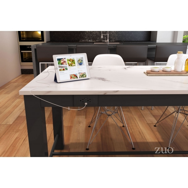 100975 – Dawson Dining Table Faux Marble & Matt Black Intended For Dawson Dining Tables (Image 1 of 25)