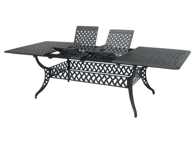 "102"" Cast Aluminum Extendable Dining Table 