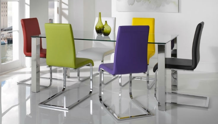 11. Different Colour Mismatched Chairs Barletto Clear Glass Dining Table in Colourful Dining Tables And Chairs