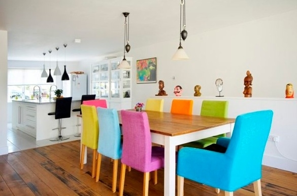 11. Different Colour Mismatched Chairs Barletto Clear Glass Dining Table With Colourful Dining Tables And Chairs (Photo 10 of 25)