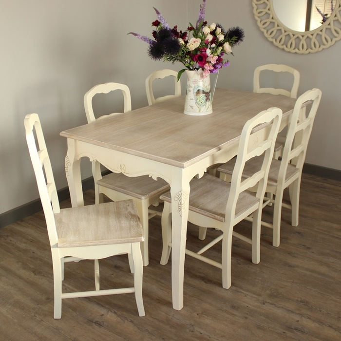 12. Country Ash Range Dining Room Set Cream Large Dining Table And 6 Within Cream Dining Tables And Chairs (Photo 9 of 25)