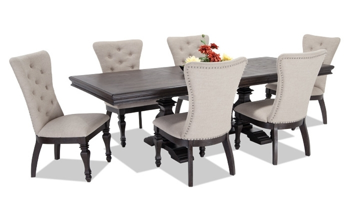 12. Jaxon 5 Piece Round Dining Set W Upholstered Chairs 360 Intended For Jaxon 6 Piece Rectangle Dining Sets With Bench & Uph Chairs (Photo 15 of 25)