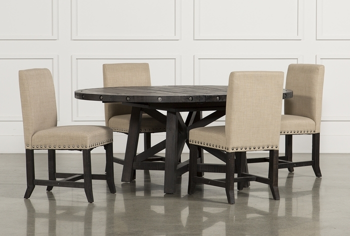 12. Jaxon 5 Piece Round Dining Set W Upholstered Chairs 360 With Regard To Jaxon 7 Piece Rectangle Dining Sets With Wood Chairs (Photo 4 of 25)