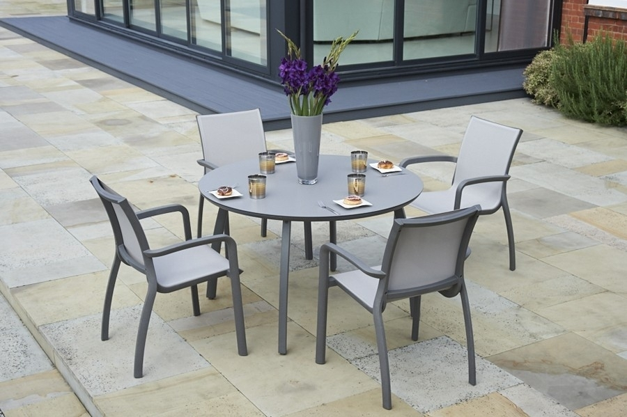 120Cm Paris Volcano/grey Round Dining Table With 4 Paris Volcano Regarding Paris Dining Tables (Image 2 of 25)