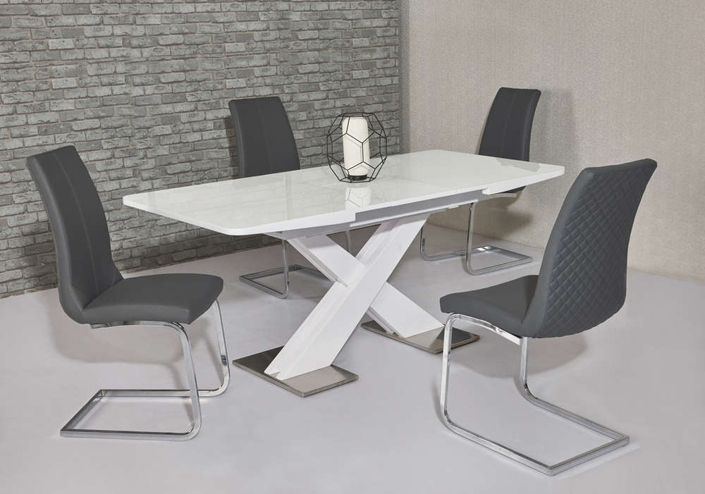 120Cm White High Gloss Dining Table & 4 Grey Chairs – Homegenies Regarding White Gloss Dining Tables 120Cm (Image 1 of 25)