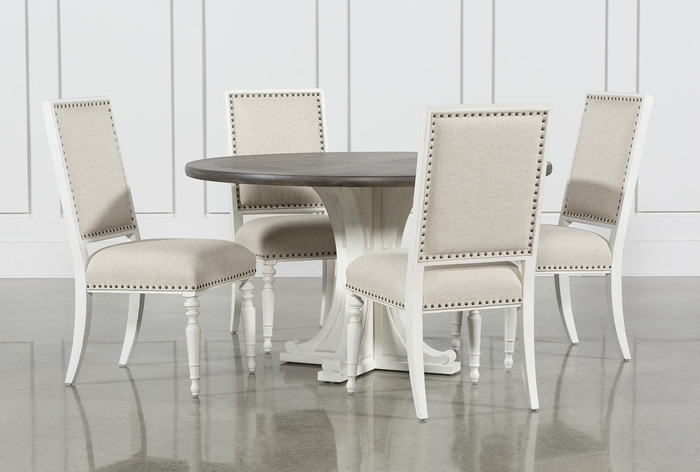 13. Candice Ii 5 Piece Round Dining Set Intended For Norwood 9 Piece Rectangle Extension Dining Sets (Photo 20 of 25)