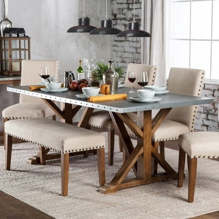 13. Furniture Of America Aralla Industrial Style Dining Table regarding Industrial Style Dining Tables