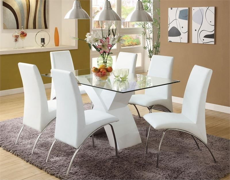 13. Limitless Home Round Dining Set With 4 White Chairs Amazon Co Uk Intended For Chrome Dining Room Chairs (Photo 16 of 25)