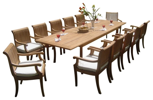 """13 Piece Outdoor Teak Dining Set, 117"""" Rectangle Table, 12 Giva Arm Within Craftsman 7 Piece Rectangle Extension Dining Sets With Arm & Side Chairs (Photo 9 of 25)"""