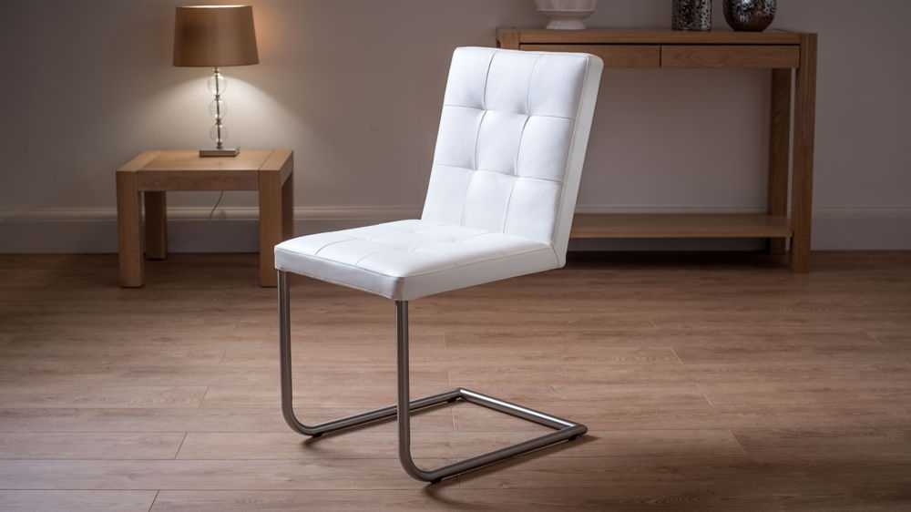 13. Quilted Real Leather Dining Chairs In White with regard to Real Leather Dining Chairs