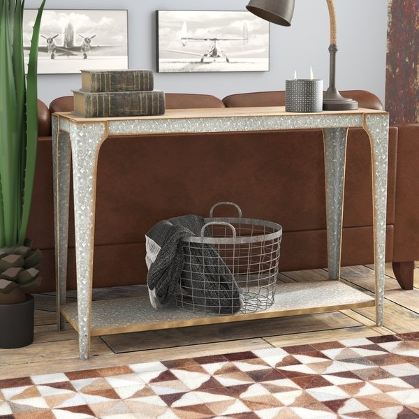 14 Inch Deep Console Table | Wayfair Intended For Ina Pewter 60 Inch Counter Tables With Frosted Glass (Image 1 of 25)