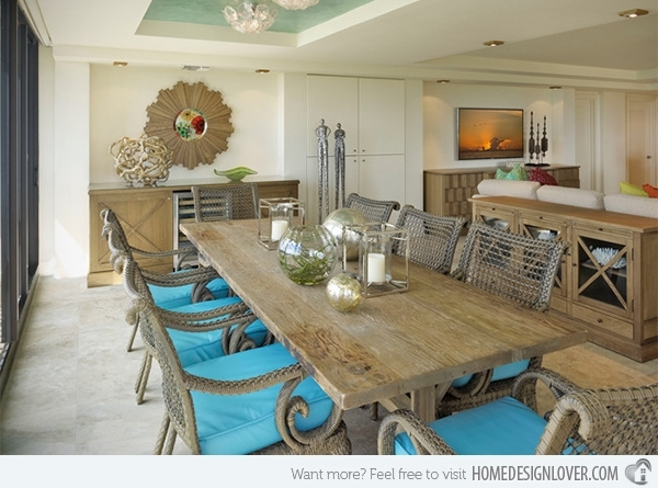 15 Beach Themed Dining Room Ideas | Home Design Lover Pertaining To Coastal Dining Tables (Image 1 of 25)