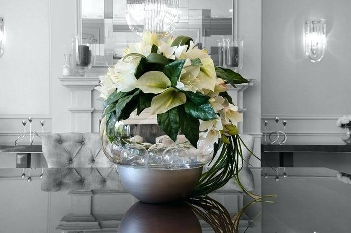 15. Flower Arrangement For Dining Table Glass Silk Floral regarding Artificial Floral Arrangements for Dining Tables