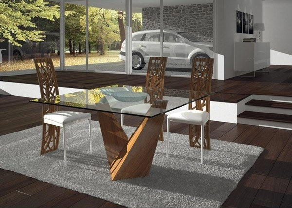 15 Shimmering Square Glass Dining Room Tables | Home Design Lover Within Glass Dining Tables (Photo 12 of 25)
