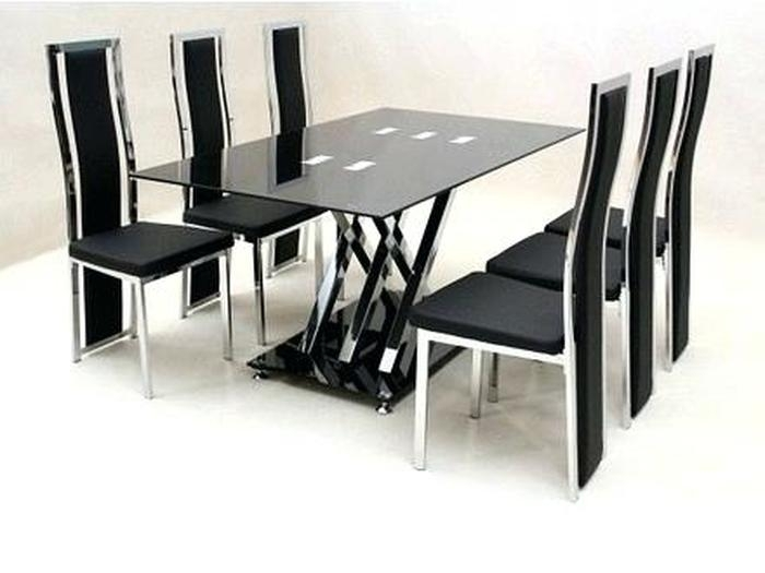 16. 7 Piece Dining Table Set 6 Chairs Black Glass Metal Kitchen Room in Black Glass Dining Tables 6 Chairs
