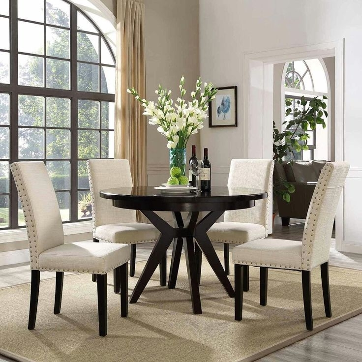 Featured Image of Bale Rustic Grey 7 Piece Dining Sets With Pearson White Side Chairs