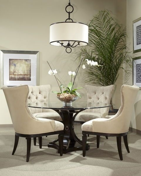 17 Classy Round Dining Table Design Ideas | British Colonial Style With Dining Room Glass Tables Sets (Image 1 of 25)