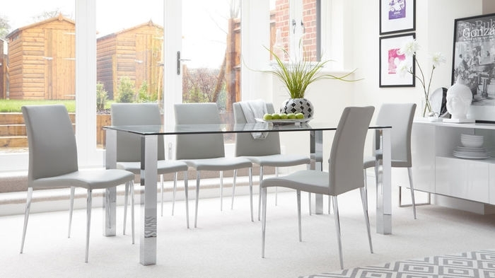 17. Rectangular Clear Glass Dining Table Chrome Legs Uk Dining Room intended for Glass and Chrome Dining Tables and Chairs