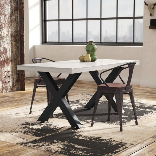 17 Stories Bodil Concrete Rectangular Dining Table & Reviews | Wayfair Throughout Laurent 7 Piece Rectangle Dining Sets With Wood And Host Chairs (Image 1 of 25)