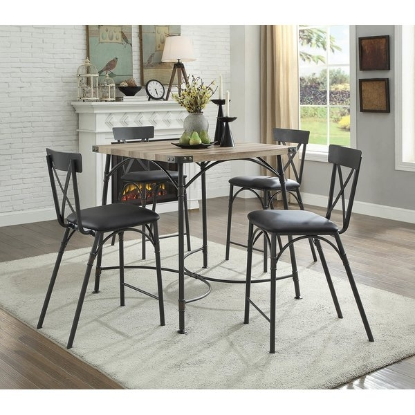 17 Stories Christofor Counter Height 5 Piece Dining Set | Wayfair throughout Caira Black 7 Piece Dining Sets With Upholstered Side Chairs