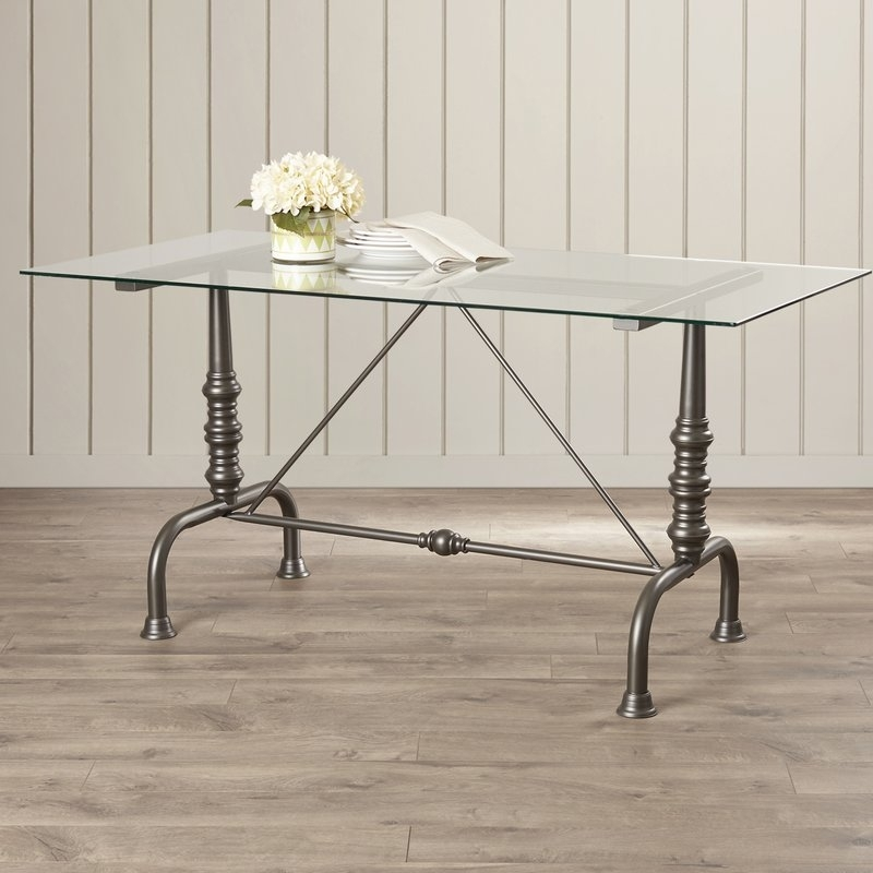 Featured Image of Ina Pewter 60 Inch Counter Tables With Frosted Glass