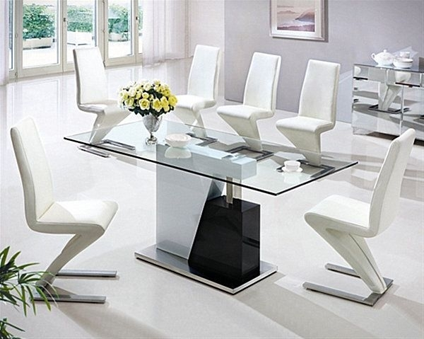 18 Sleek Glass Dining Tables In 2018 | Home Furnishings | Pinterest Intended For Sleek Dining Tables (Image 1 of 25)