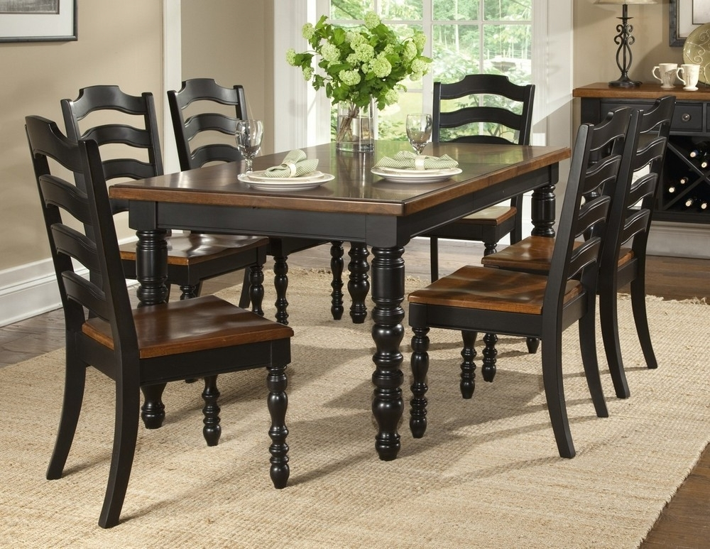 19 Dark Wood Dining Table Set, Furniture: Rustic Wooden Dining Room Pertaining To Black Wood Dining Tables Sets (View 4 of 25)