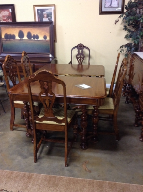 1920's Jacobean Walnut Dining Table W/ 6 Chairs   Encore Home Gallery Regarding Walnut Dining Table And 6 Chairs (Image 1 of 25)
