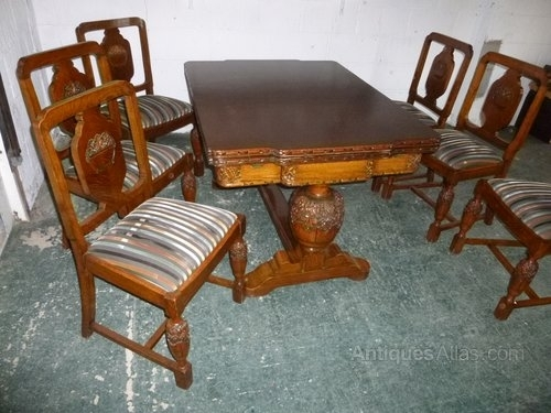 1930's Set 6 Carved Oak Dining Chairs (Chairs Only) – Antiques Atlas Pertaining To Oak Dining Chairs (Image 1 of 25)