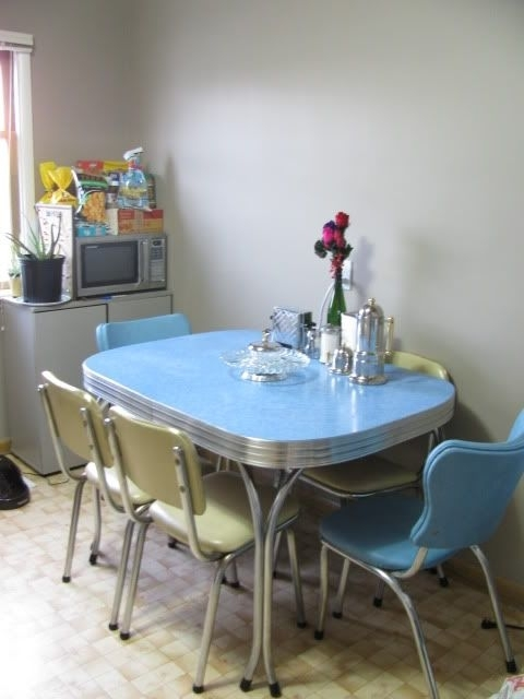 1950S Chrome Dining Set In Blue And Cream – We Grew Up With A Pink Inside Chrome Dining Sets (Image 2 of 25)