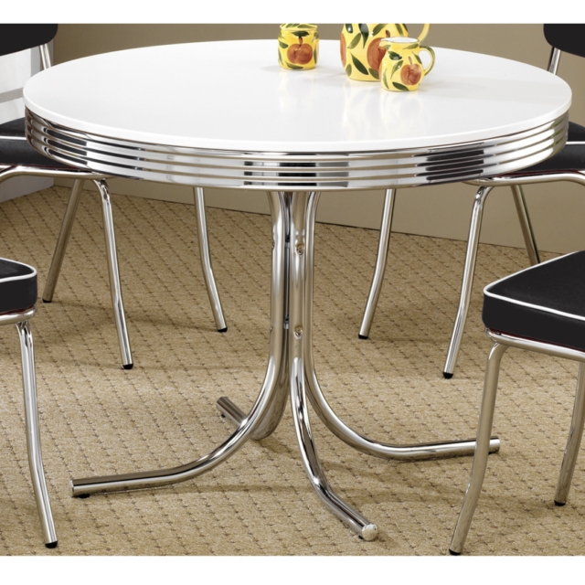 1950S Retro Dining Table Metal Chrome Dinette Round 50S Style Within Retro Dining Tables (Photo 18 of 25)