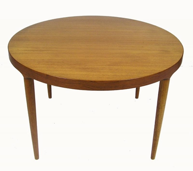1960S Round Teak Dining Table W/extension *denmark* – Hoopers Modern Regarding Round Teak Dining Tables (Image 1 of 25)