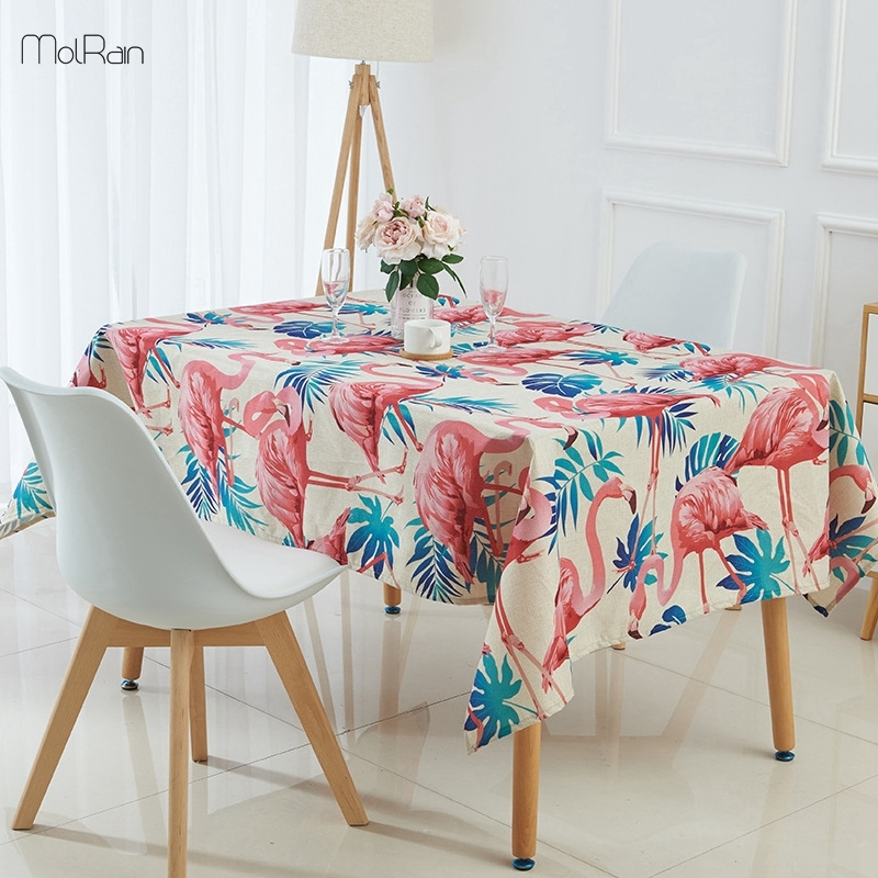 1Pcs Tropical Plants Flamingo Tablecloth Indian Style Decorative Regarding Indian Style Dining Tables (Image 1 of 25)