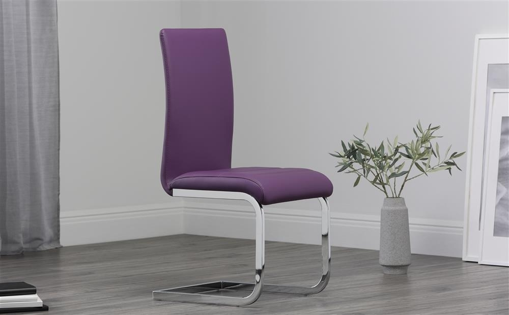 2 4 6 8 Perth Purple Leather Dining Room Chairs | Ebay In Purple Faux Leather Dining Chairs (Image 2 of 25)