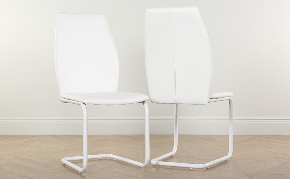 2 4 6 8 Pica White Leather Dining Room Chairs (White Legs) | Ebay Pertaining To White Leather Dining Room Chairs (View 11 of 25)
