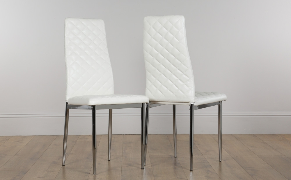 2 4 6 8 Renzo White Leather Dining Room Chairs (Chrome Legs) | Ebay Pertaining To White Leather Dining Chairs (Image 1 of 25)